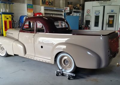 After shot of full restoration of 1946 Fleetmaster Ute done in PPG direct gloss.