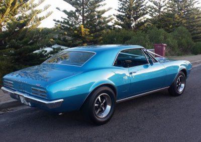 After shot of 1967 Pontiac Firebird after a complete, bare metal restoration.