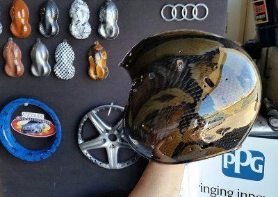 An aircraft helmet dipped in a snakeskin design.