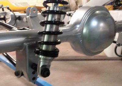 Custom suspension finished in a light shadow chrome.