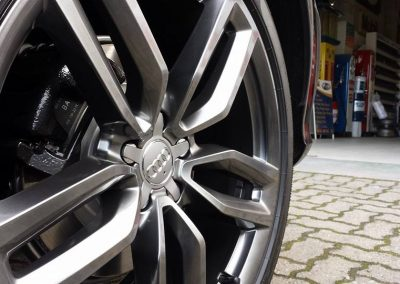 Standard Audi rim converted to a shadow chrome finish.