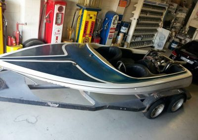 Before shot of complete respray on 1974 Tahiti jetboat.
