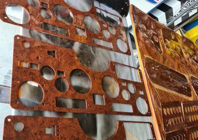 Kenworth truck dash panels done to factory Burl Wood design.