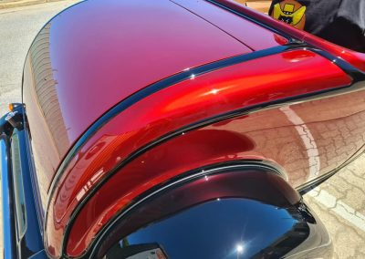 After shot of 1932 Ford Highboy finished off in PPG Deltron base colour and Vibrants clearcoat.