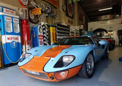 After shot of replica Ford GT40 in historical Lemans colours.