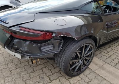 Before shot of Aston Martin DB11 which had fibreglass composite rear end torn off.